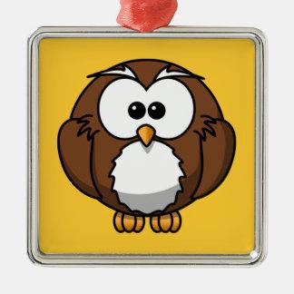 Cute Owl Silver-Colored Square Decoration