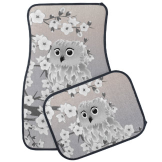 Cute Owl Taupe Gray Car Mat