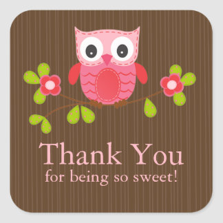 Cute Owl Thank You Baby Shower  Square Sticker