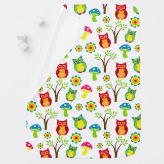 Cute Owl, Tree and Mushroom Baby Blanket
