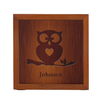 Cute Owl Tree with Custom Name & in Rosewood Look Desk Organiser