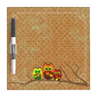 Cute Owl Trio on Apricot Dots - Dry Erase Board