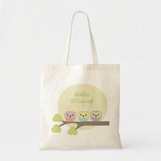 Cute Owl Trio School Book Library Canvas Bag