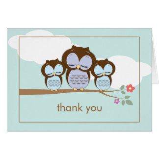 Cute Owl Twin Baby Boys Thank You Note Card