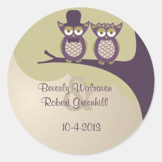 Cute Owl Wedding Stickers