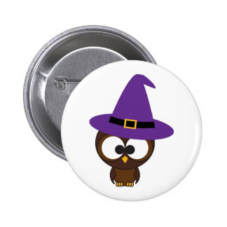 Cute Owl Witch 6 Cm Round Badge
