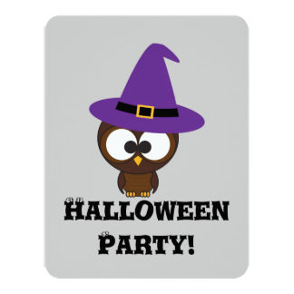 Cute owl witch Halloween Party Invitation