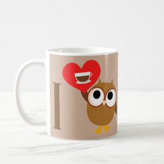 Cute Owl with Coffee Cup Mug