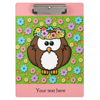 Cute Owl with Floral Headband on Pink Clipboard