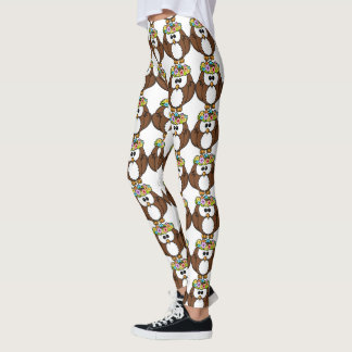 Cute Owl with Floral Wreath Leggings