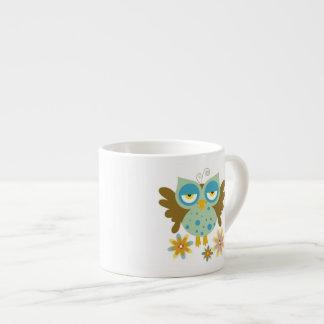 Cute owl with flowers espresso mug