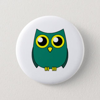 Cute Owl with Huge Yellow Eyes Button