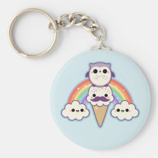 Cute Owl with Ice Cream Basic Round Button Key Ring