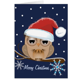 Cute Owl with Santa hat card