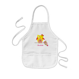 Cute Owl Yellow Pink Flowers Personalized Kids Apron
