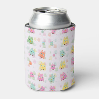 cute owls allover A Can Cooler