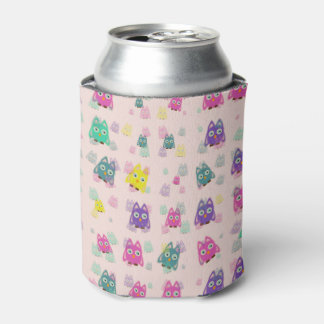 cute owls allover B Can Cooler
