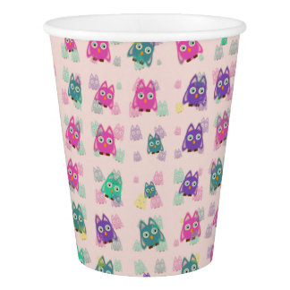 cute owls allover B Paper Cup