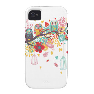 Cute Owls and colourful floral image background iPhone 4/4S Case