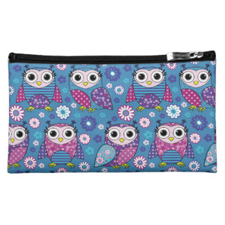 Cute Owls And Flowers Cosmetic Bag