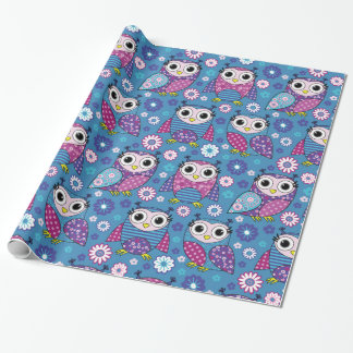 Cute Owls And Flowers Wrapping Paper