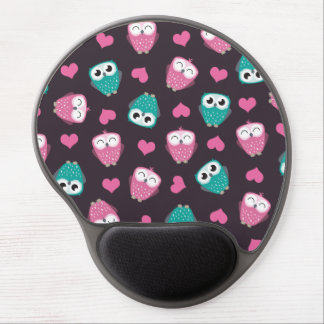 Cute Owls and Hearts Pattern Gel Mouse Pad