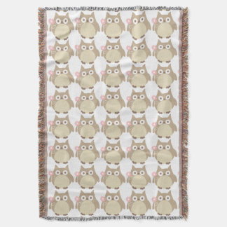 Cute Owls and Pink Flowers Pattern