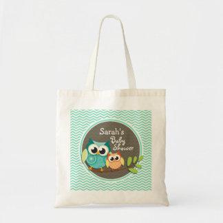 Cute Owls Aqua Green Chevron Bag
