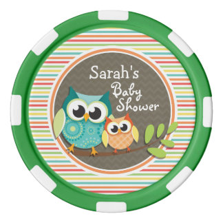 Cute Owls Baby Shower, Bright Rainbow Stripes Set Of Poker Chips