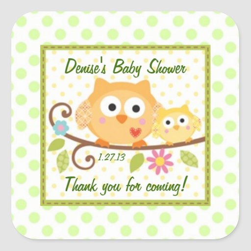 Cute Owls Baby Shower Label Square Stickers