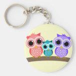 cute owls basic round button key ring