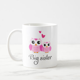 Cute owls big sister little sister cartoon basic white mug