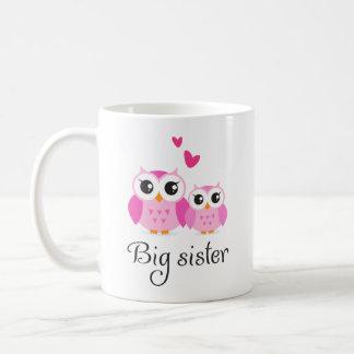 Cute owls big sister little sister cartoon coffee mug