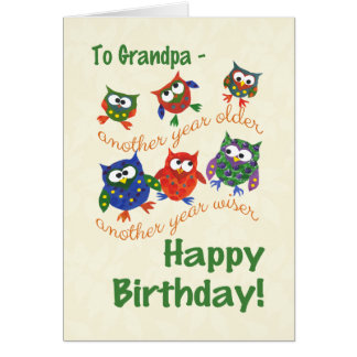 Cute Owls Birthday Card for a Grandpa