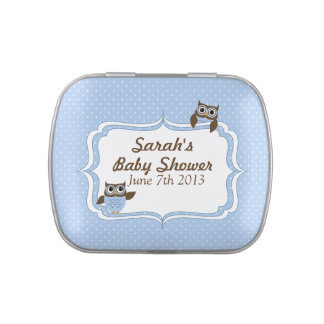 Cute Owls Blue and White Polka dots Jelly Belly Tins