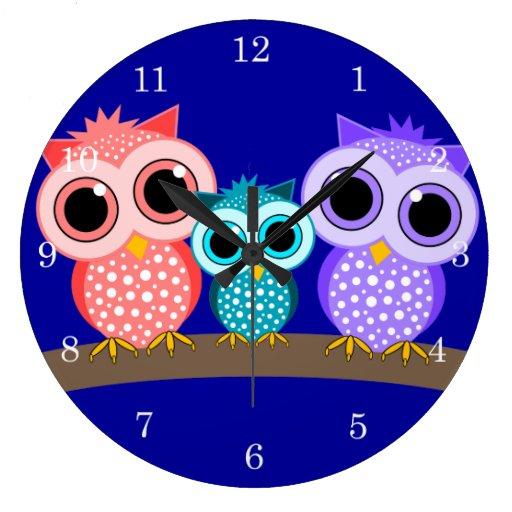cute owls round wallclocks