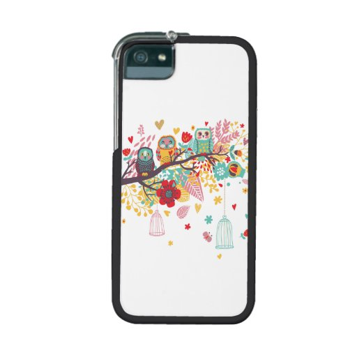 Cute Owls colourful floral hearts background iPhone 5 Case