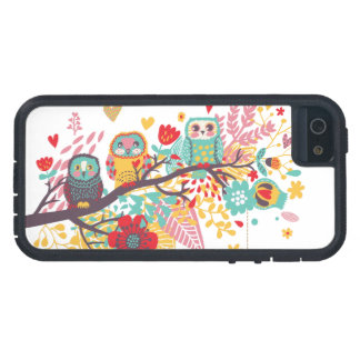 Cute Owls colourful floral hearts background Case For iPhone 5