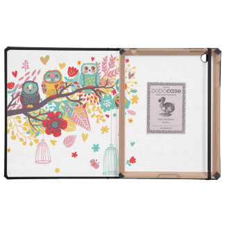 Cute Owls colourful floral hearts background Covers For iPad