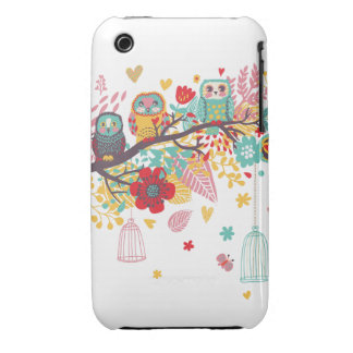 Cute Owls colourful floral hearts background Case-Mate iPhone 3 Cases