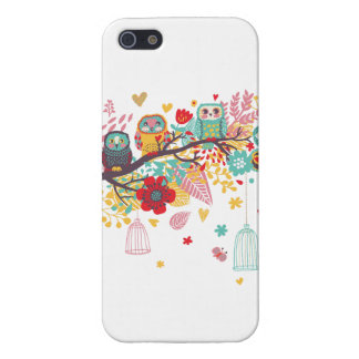 Cute Owls colourful floral hearts background iPhone 5 Cover