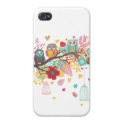 Cute Owls colourful floral hearts background iPhone 4 Covers