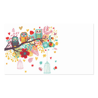 Cute Owls colourful floral hearts background Pack Of Standard Business Cards