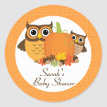 Cute Owls Fall Baby Shower Personalised Stickers