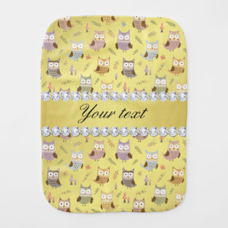 Cute Owls Faux Gold Foil Bling Diamonds Burp Cloth