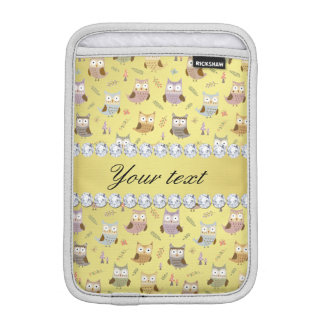 Cute Owls Faux Gold Foil Bling Diamonds iPad Mini Sleeves