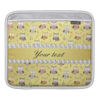 Cute Owls Faux Gold Foil Bling Diamonds iPad Sleeve