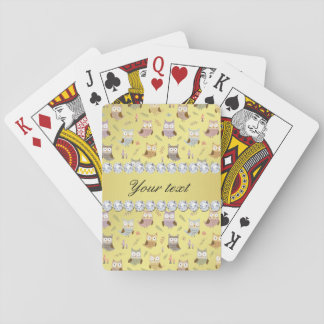 Cute Owls Faux Gold Foil Bling Diamonds Playing Cards