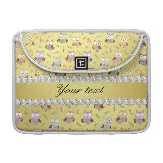 Cute Owls Faux Gold Foil Bling Diamonds Sleeve For MacBook Pro