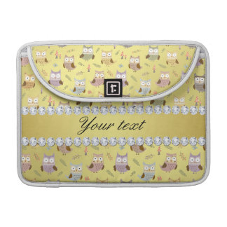 Cute Owls Faux Gold Foil Bling Diamonds Sleeve For MacBooks